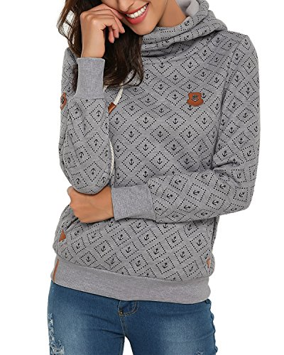 StyleDome Winter Damen Hoodies Pullover Langarm Jacke Top Sweatshirt Pullover Tops Jumper Grau465887 L (Sweatshirt Pullover Hoody)