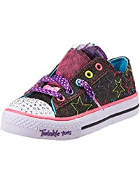Skechers Girl's Shuffles Black and Multi Canvas Sports Shoes