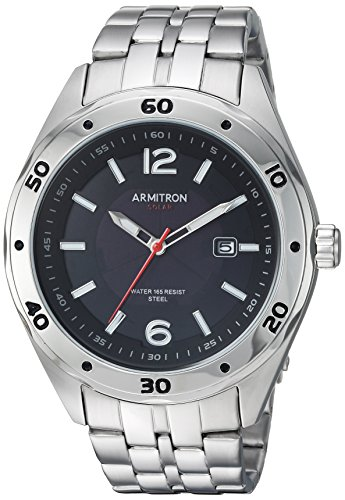Armitron Men's 20/5253BKSV Solar Powered Date Calendar Dial Silver-Tone Bracelet Watch