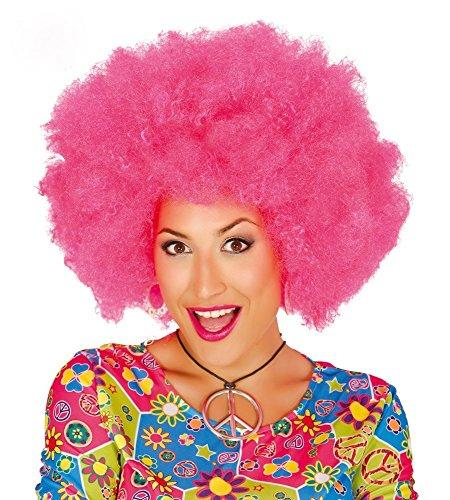 Große Afro-Perücke für Damen und Herren Locken Hippie Clown , Farbe: Pink