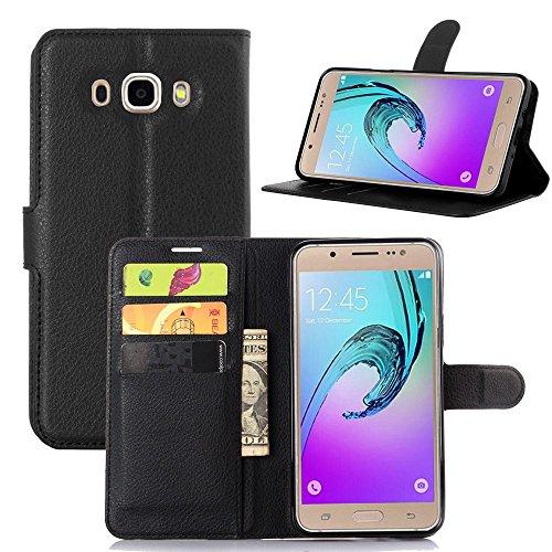 Tasche für Samsung Galaxy J7 (2016 Version , 5.5 zoll) J710 Hülle, Ycloud PU Ledertasche Flip Cover Wallet Case Handyhülle mit Stand Function Credit Card Slots Bookstyle Purse Design schwarz