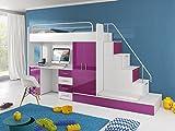 Furnistad - Hochbett SUN - Kinderzimmer Komplett (Option rechts, Weiß + Violett)
