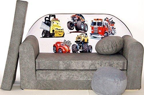 Kinder Sofabett + Gratis Polsterhocker und Kissen Kindermöbel Set - A14