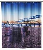 Wenko 22496100 LED Duschvorhang Usedom - waschbar, mit 12 Duschvorhangringen, Polyester, Mehrfarbig