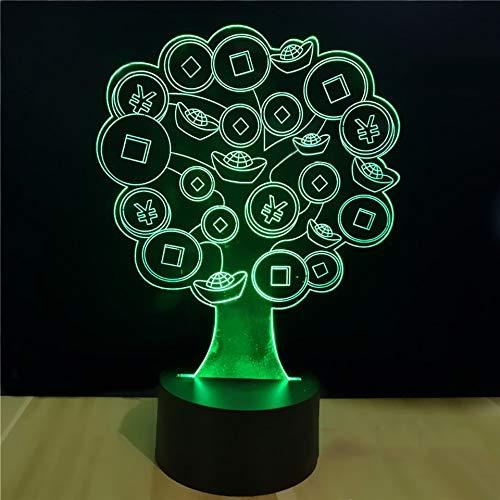 3D Kupfer Geld Gold Barren Baum Form Nachtlicht Führte Visuelle Schreibtischlampe Kind Schlafzimmer Schlaf Licht Baby Nacht Deko Geschenke ()