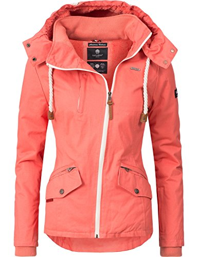 Navahoo Damen Outdoorjacke Übergangs Jacke Rehauge (vegan hergestellt) Coral Gr. S (Mantel Orange Winter)