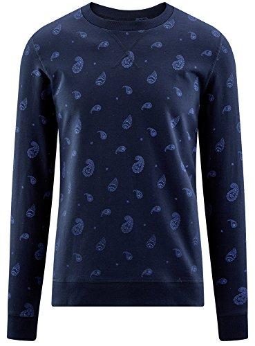 oodji Ultra Herren Bedrucktes Gerade Geschnittenes Sweatshirt Blau (7975E)