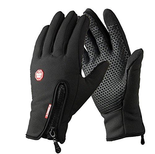 YYGIFT® Touchscreen Handschuhe Outdoor Sport Winter Damen und Herren Warme Fahrradhandschuhe Winddicht und Touchscreen geeignet mit der Reißverschlüsse Touchfinger