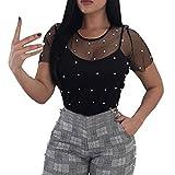 Damen Elegant Oberteile Sommer T-Shirt Kurzarm Shirt Vintage Transparent Tops Hemd Bluse Tüll Mesh Clubwear Bluse Body T-Shirt Tunika Tops mit Perlen (Black, S)