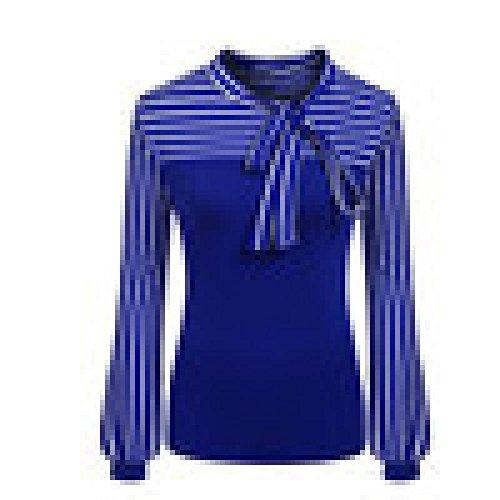 Bluse Damen Elegant Tops Frühling Sommer Tie-Bow Neck Striped Langarm Spleißen Shirt (XXX-Large, Blau) (Bow Oversized)