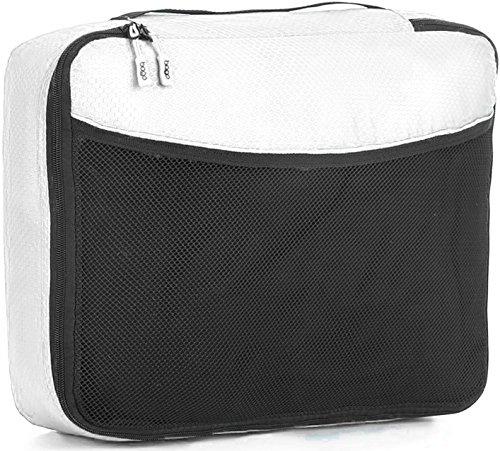 Packwürfel Kleidertaschen Packing cubes Koffertaschen für angenehmes Reisen und aufgeräumte Koffer -Große und mittelgroße Taschen zum Schutz und zur Komprimierung von vielen Kleidungsstücken, Schuhen  Large-White