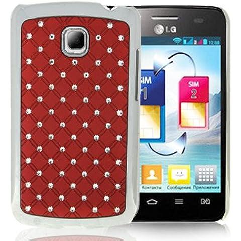 Luxury Bling Diamond Plating Skinning Funda Case Funda Para LG Optimus L3 II E340 (Red)
