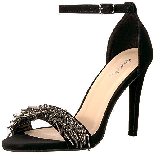 Qupid Damen Single Sole Sandale, schwarzes Nubukleder 35.5 M EU