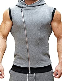 Glestore Hombre Camisetas de Tirantes Deporte con Capucha Gym Fitness Running Tank Chaleco