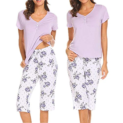 Unibelle Damen Schlafanzug Sommer Pyjama Set Nachtwäsche mit Dekorative Knöpfe - 2 Stück Kurzarm-pyjama