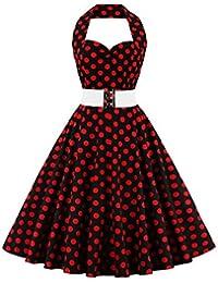 vkstar® Retro Chic sin mangas 1950er Neck Holder Audrey Hepburn vestido/Cóctel vestido rockabilly