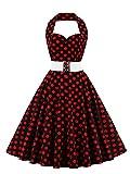VKStar®Retro Chic ärmellos 1950er Audrey Hepburn Kleid/Cocktailkleid Rockabilly Swing Kleid Rote Punkte 4XL
