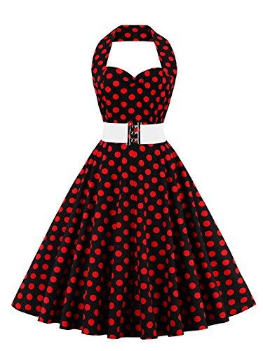 VKStar®Retro Chic ärmellos 1950er Audrey Hepburn Kleid / Cocktailkleid Rockabilly Swing Kleid Rote Punkte XXL