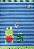 Sigikid Marken Kinder Teppich, kuschelig und hochwertig mit süßen Fröschen, Susi Sumpfhose (140 x 200 cm)