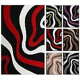 VIMODA Wohnzimmer Teppich Lila Schwarz Weiß Wellen Muster Friseé Flauschig Weich Konturenschnitt Geprüft von 160x230 cm