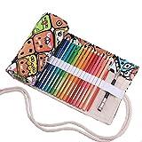 Abaría - Bolso para lápices, grande estuche enrollable para 72 lapices colores, portalápices de lona, bolsa organizador lápices para infantil adulto, Dibujos animados 72