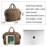 Yilooom Solid Khaki Casual Vintage Multifunction Trunk Mens Canvas Travel Crossbody Shoulder Messenger Bag Handbag for Men