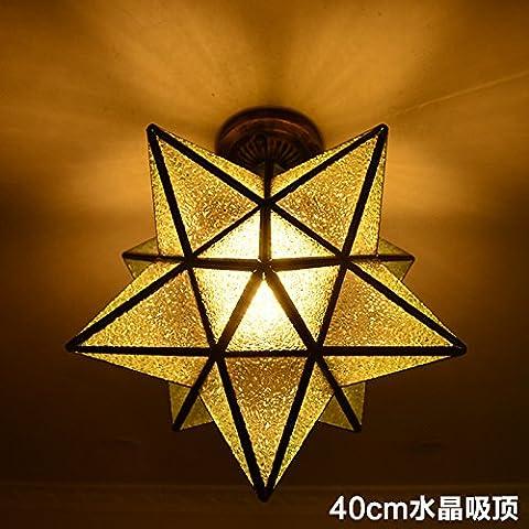 LYNDM soffitto luce stelle Home Ciondolo lampada illuminazione lampadario per camera da letto sala 40cm lampada da soffitto in cristallo