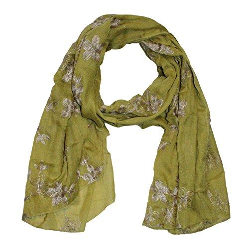 MANUMAR Schal für Damen | feines Hals-Tuch in braun mit gesticktem Blumen Motiv als perfektes Frühling Sommer Accessoire | Stick | Damen-Schal | Stola | Mode-Schal | Ideales Geschenk für Frauen -