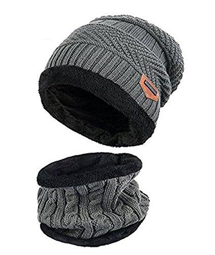 ZZLAY Kinder Winter Dicke Beanie Hut Schal Set Slouchy Warmen Schnee Knit Skull Cap