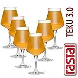 Rastal - boîte de 6 verres Modèle de dégustation de bière universelle TEKU 3.0 - 42 cl. (14,8 Imp.fl.oz.) - Universal Tasting Goblet BEER - TEKU 3.0 - Capacité de 42,5 cl - RASTAL Le premier verre MADE IN ITALY pour la dégustation universelle de bièr...