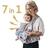 Windsleeping Kleinkinder Baby Carrier mit Kapuze für alle Jahreszeiten, 7 Möglichkeiten zu tragen, Hip Sitz Carrier Vorder- und Rückseite, Silikon griffsicheres Sitzfläche - Grau