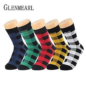 LILIKI@ Baumwollfrauen-Socken-Marken-Plaid-Frühlings-Fall-Mode-Niedliche Rote Grüne Kompressions-Knöchel-Weibliche Socken-Strumpfwaren