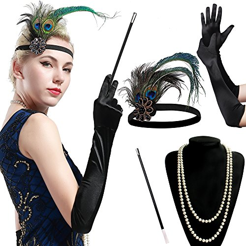BABEYOND 1920s Flapper Set Damen Gatsby Kostüm Accessoires Set inklusive Stirnband Halskette Handschuhe Zigarettenhalter (Set-10) (Kostüme Der 1920er Jahre)