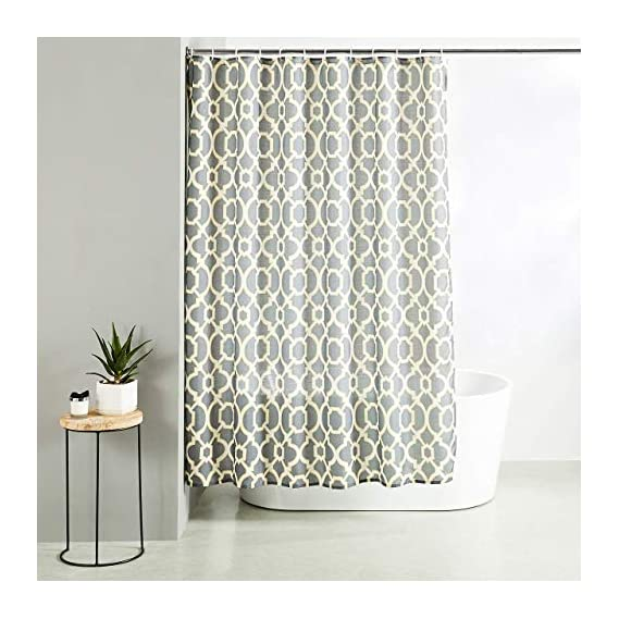 Amazon Brand - Solimo Demure Polyester Shower Curtain, 70 inch x 79 inch, Yellow