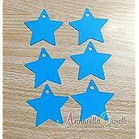 50 pezzi cartellini Stella Azzurro, 41x43 millimetri, Nascita, Battesimo, Prima Comunione, Compleanno, carte regalo, tag fai da te, etichetta, confetti, bomboniere, stellina blu