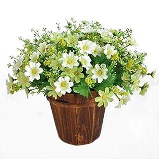 ALCYONEUS 1 Bouquet 28 Heads Artificial Cute Daisy Fake Flower Wedding Garden Home Decor (White)