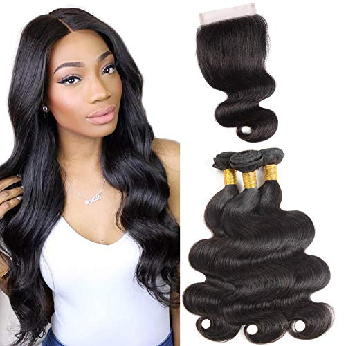 10A Brazilian Body Wave 3 Bundles with Closure Human