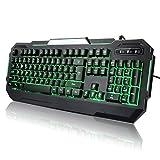 TEC.BEAN 7 Farben Beleuchtete Spiel Gaming Tastatur USB Verdrahtet, Schwarz