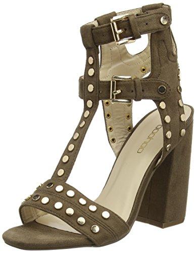 Boohoo Damen Caged Stud High Heel Shoe Sandalen, Braun (Taupe), 40.5 EU (Sandalen Gladiator Taupe)