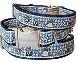 Hundehalsband Bayern Edelweiss Tracht Oktoberfest blau Nylon Halsung Band Halsband Schnalle 29 - 44 cm x 2,0 cm