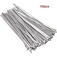 100 pcs Bridas para Cables Ataduras Acero Inoxidable 304 Alta Resistencia Sujetador de Cable de Autobloqueo Lazos de Alambre 4.6 x 200 mm