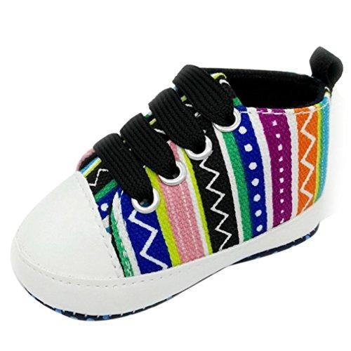 BZLine® Baby Mädchen Jungen Schuhe Anti-Rutsch-Kleinkind bunte Leinenschuhe Sneaker Schwarz