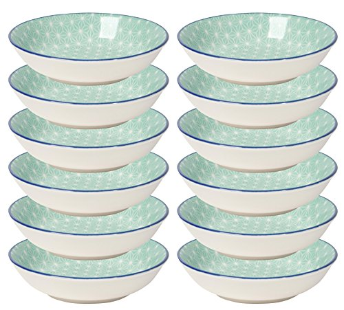 Now Designs Aqua Stars Dip Bowls (Set of 12), White/Light Blue Blue Rim Soup Bowl
