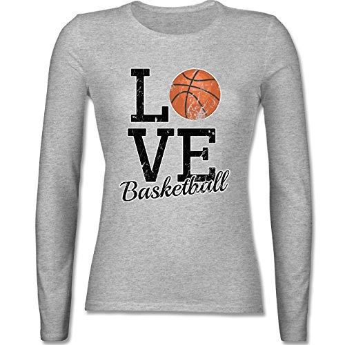 Basketball - Love Basketball - tailliertes Longsleeve / langärmeliges T-Shirt für Damen Grau Meliert