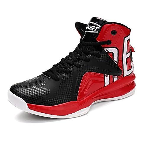 Men's Basketball Shoes Hi-Top Trainers Shoes Mixed Color(Red EU46)