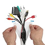 Tubo flessibile per fasci di cavi elastico con chiusura a velcro. Canalina per cavi, lungh. 2 m, largh. Max. 32 mm, bianco. Per nascondere i cavi di scrivania e TV. Canaline per cavi Tubo cavi