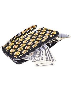 Kukubird Emoticon Reticolo Nero Pelle Portafoglio Frizione Unisex Grande