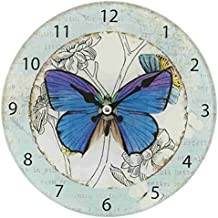 6KL0262 Clayre & Eef - Orologio da parete - Farfalla - Blu ca. 17 cm
