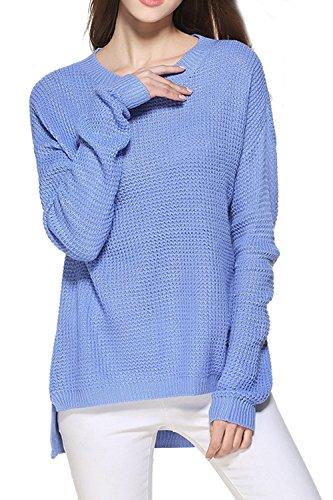 Lettre d'amour Femmes À Manche Longue Chemise Pull Décolleté Base Simple en Sweat - Shirt Maxi blue