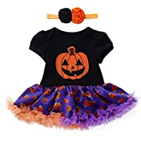 Sallydream Invierno Fiesta Infantil Niño Bebé Niñas Halloween Calabaza Arco Vestido de Fiesta Ropa Vestidos